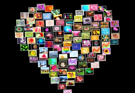 ♥ My First 100 Wallpapers ♥ - colors, cards, abstract, collage, pictures, heart, wallpaper
