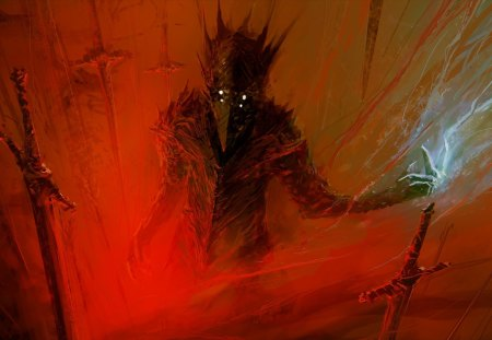 Demon - art, science, berserk, fantasy, fiction, swords, red, artwork, painting