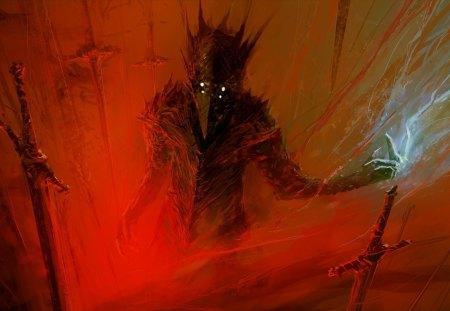 Demon - fiction, painting, science, swords, red, fantasy, art, artwork, berserk