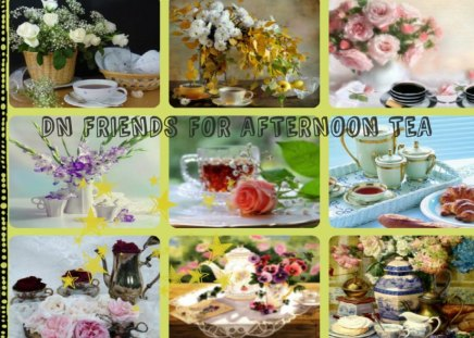 DN FRIENDS FOR AFTERNOON TEA!!! - abstract, tea, collage, china