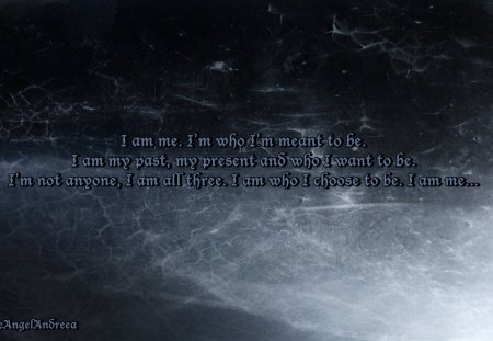 I am Me - texture, me, words, blue