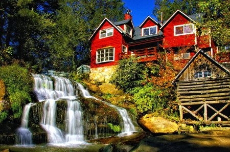 Rocks waterfall - stream, fall, rocks, red, pretty, house, mill, falling, home, cabin, beautiful, nice, stones, waterfall, reflection, lovely, view, high, creek, sky, trees, pond, water, summer, nature