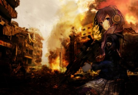 Random Anime Girl with Gun. - desert, destruction, headphones, warfare, school, cars, fire, modern, gun, girl, backpack, anime
