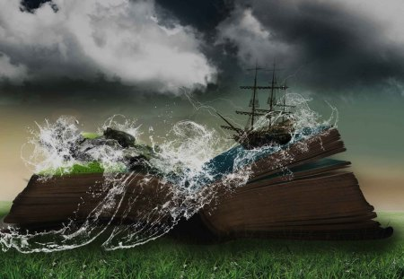Fairytales - sails, clouds, ship, water, book