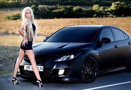 Back in Black - 6, matte, mazda, girl, black dress, black, blonde, black hair