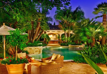 Romantic place for dinner - relax, rest, resort, bar, tropics, pleasant, place, destination, flowers, luxury, sky, summer, travel, chair, greenery, dinner, tropical, palm trees, drink, emerald, stream, romantic, pool, evening, holiday, waters, cocktail, palms, nice, exotic, nature, fountain, beautiful, lovely, green, umbrellas