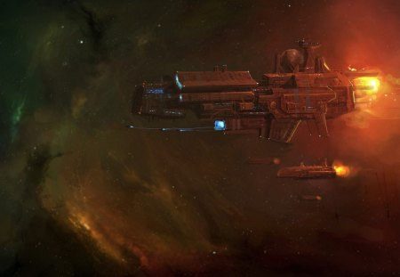 fleet of starships - stars, sun, nebula, starships, shuttles