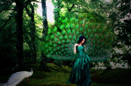 Peacock Princess - green, peacock, blue, feathers