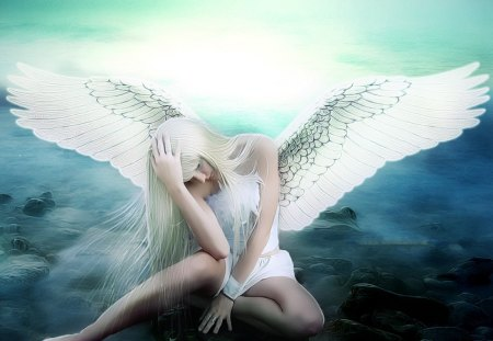 Sad angel - wings, blue, fantasy, angel, sad