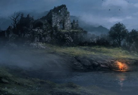 fantasy art - river, birds, ruins, torch, mountains, trees, boat, people