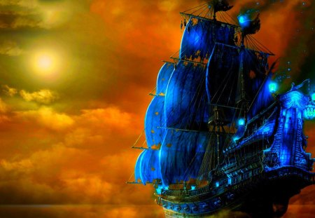 THE PIRATE SHIP - pirate, ship, art, clouds