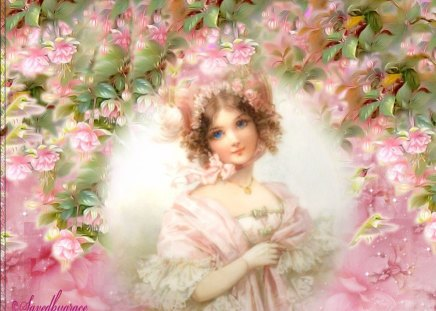 lady of spring - flowers, pink, lady, leaves