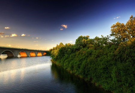 beautiful bridge of arches - sundown, river, trees, bridge