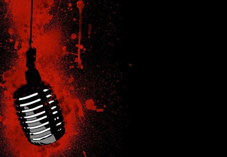 Mic In Blood - music, mic, blood, abstract, black, red, microphone