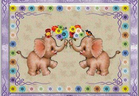 SENDING JUMBO WISHES FOR THE COMING NEW WEEK! - flowers, elephants, birds, framed