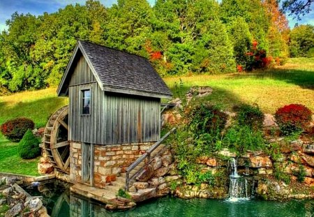 Mill on the riverbank - emerald, peaceful, lake, stream, creek, pond, mountain, calm, lakeshore, sky, water, nice, summer, nature, reflection, beautiful, greenery, lovely, river, stones, green, riverbank, mill, shore