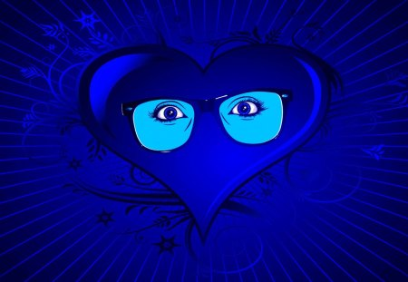 BLUE HEART Eyes - blue, vector, heart, photoshop, eyes