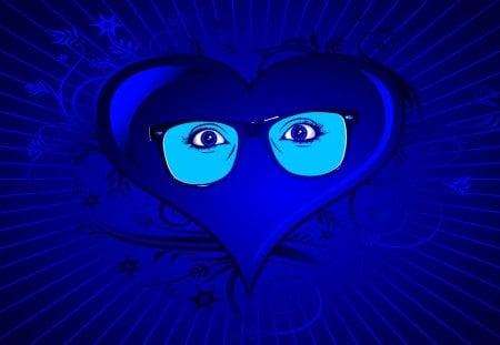 BLUE HEART Eyes - blue, vector, heart, photoshop, eyes