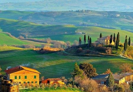 Toscana - houses, hills, italy, toscana, landscape