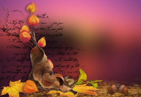 Fall Sunset - collage, letter, fall, acorns, poetry, seed pods, autumn, season, colors, leaves, sky, change, sunset, abstract, dry