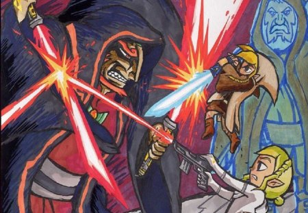 zelda wars - female, nintendo, link, star wars, video game, cross over, women, girl, zelda