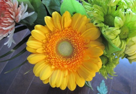 Bouquet with a Yellow flower - orange, Flowers, photography, Daisy, green, yellow