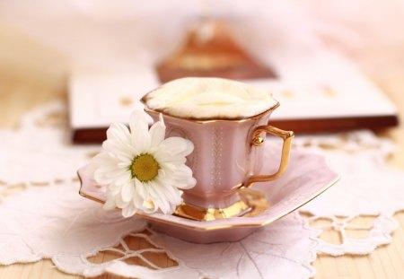 Elegant CupTea Time - elegant, cuptea, one, time, daisy