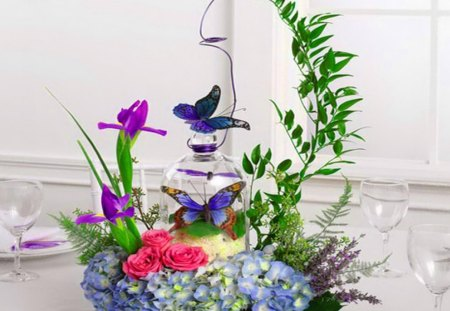 Natures beauties centerpiece - flowers, blue, ivy, pink, purple, plant, glass, butterflies, green