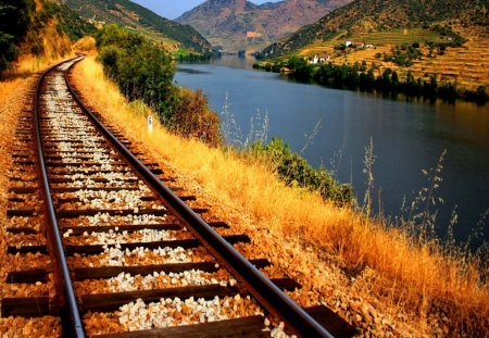 Railroad alongside to river - railroad, grass, railway, peaceful, mountain, calm, cottages, blue, lakeshore, sky, water, nice, summer, nature, together, houses, reflection, beautiful, lovely, train, river, clouds, alongside, pretty, village, cabins, riverbank, view, shore