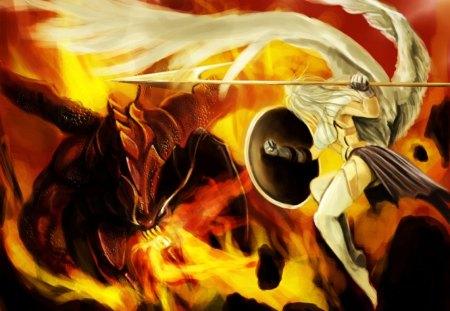 Angel vs Demon - heaven, hell, angel vs demon, demon vs angel, angel battles demon, christianity, demon, angel
