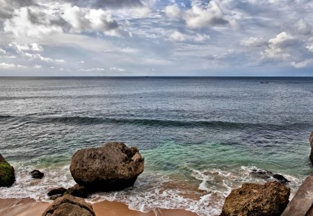 Rocks On The Beach Beaches Nature Background Wallpapers