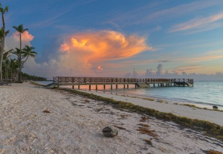 Beautiful Beach and Pier at Sunset - sand, piers, beaches, sunsets, nature, clouds, sky, docks