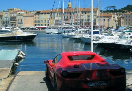 Posh St. Tropez France - harbour, cars, town, ferrari