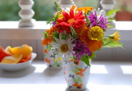 Blooming - flowers, fruit, vase, red, table, yellow, purple, daisies, butterflies