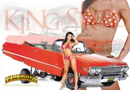 Belle bagnole - auto, fille, bikini, rouge