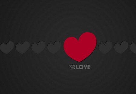 One my love - grafic, romantic, wall, black, heart, love