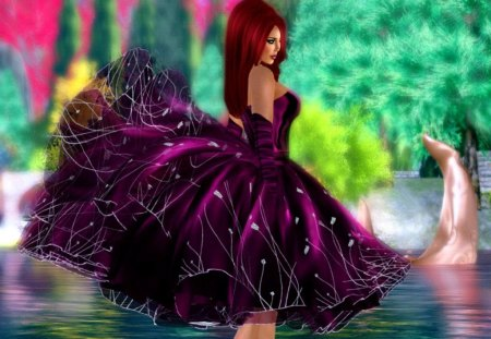 Spring time - colorful, joy, dress, woman, fairy, pond, lady, colors, water, spring rime, nice, reflection, beautiful, lovely, fantasy, spring, girl, pretty