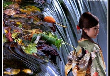 Beaut� de la nature ! - femme, nature, feuilles, cascade