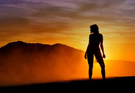 SENSUAL SILHOUTTE - color, light, background, sunset, girl, silhouette