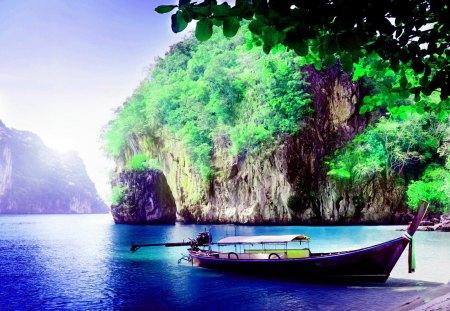 PARKED BOAT - rock, trees, beach, shore, boat