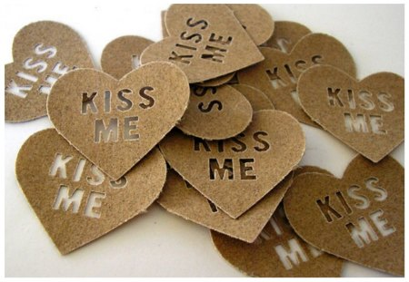 Confetti message♥ - shape, kiss me, heart, sweet, together, texture, wedding, confetti, message, forever, love
