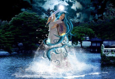 Lady of the lake - fantasy, moonlight, lake, clouds, fan, night, lady