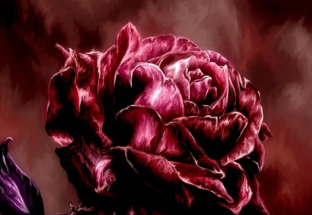 A ROSE - rose, painting, petals, art, red