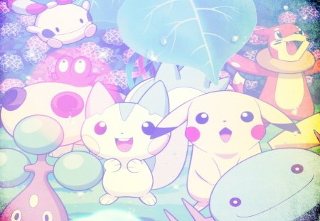 Pokemon - pachirisu, cute, chingling, buizel, bonsly, pokemon, pikachu, leaf