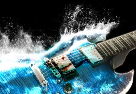 Water guitar - water, guitar, blue, music