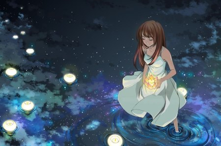 Starlight Mirror - stars, mirror image, candles, night, girl, lake