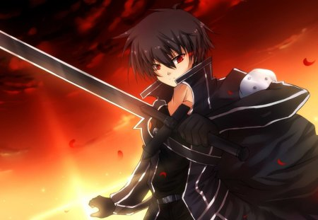 anime - short hair, anime, kirigaya kazuto, petals red, sword art online, eyes, black hair