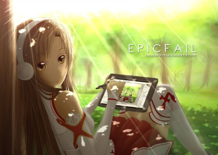 Yuuki Asuna - pretty, stunning, sun, cg, thigh highs, nice, mmo, anime, mmorpg, beauty, anime girl, art, yuuki, skirt, trees, cute, headset, cool, digital, awesome, sunshine, asuna, white, red, artistic, brown, headphones, beautiful, thighhighs, ipad, green, apple, outfit, amazing, vrmmorpg, brown hair, sunlight, yuuki asuna, sword art online, brown eyes, rpg, sao, microphone, leggings, girl, stockings, uniform, drawing