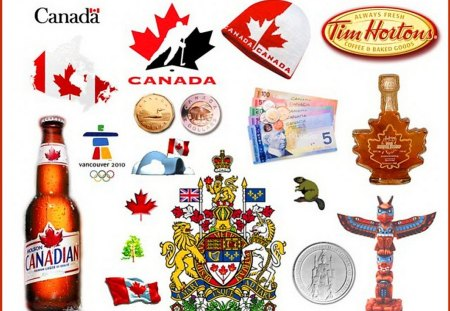 Little bits of Canada - flag, canada, maple leaf, looney, collage, tooney, emblem, beer, totem, tim hortons