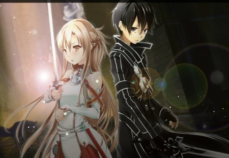 Asuna & Kirito - swordmaster, kirito, fantasy, blade, anime, weapon, long hair, sword, light, black hair, yuuki, sword art online, blond hair, short hair, armor, warrior, asuna